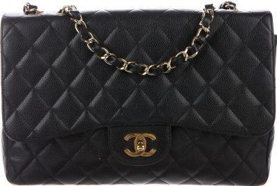 Black Jumbo Classic Single Flap Bag