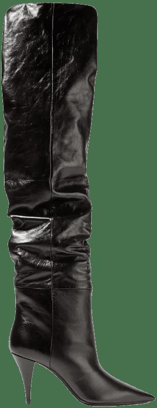 Black Kiki Textured-Leather Over-The-Knee Boots-Saint Laurent