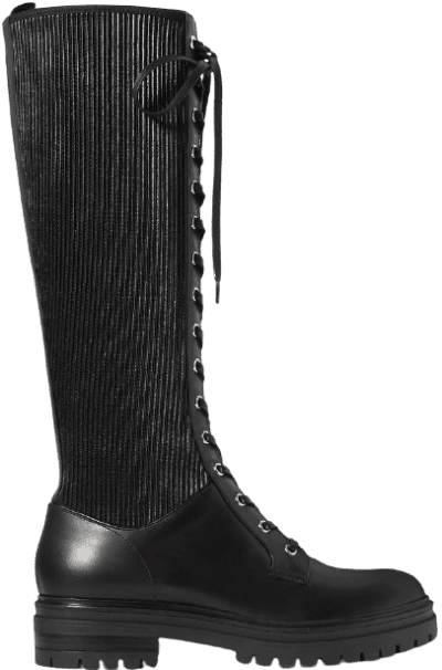 Black Lace-Up Leather Knee Boots-Gianvito Rossi