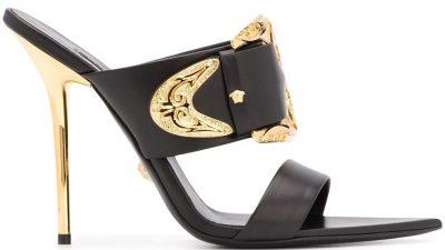Black Leather Baroque Buckle Sandals