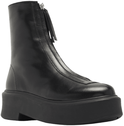 Black Leather Zipped Boot 1-The Row