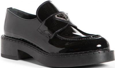 Black Logo Platform Loafer-Prada
