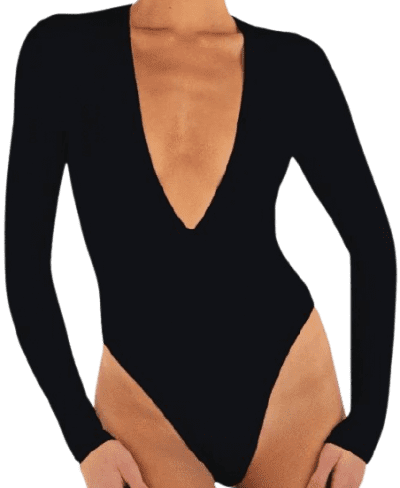 Black Long Sleeve Deep V Bodysuit-Eterne