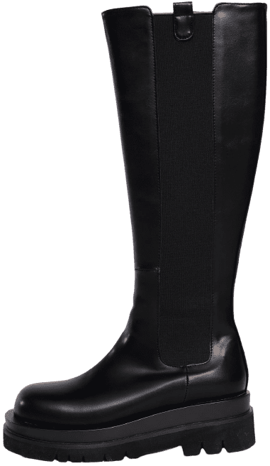 Black Lug Sole High Knee Boots-Source Unknown