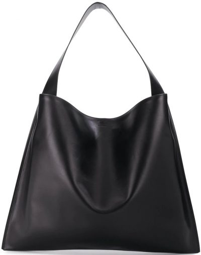 Black Medium Border Tote Bag-Jil Sander