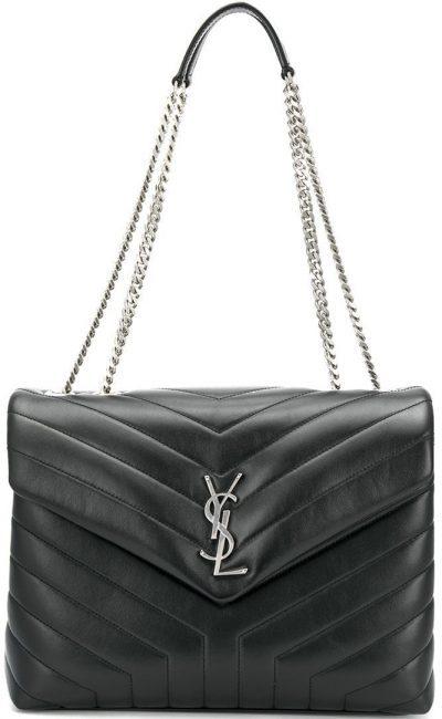 Black Medium Loulou Quilted Shoulder Bag-Saint Laurent