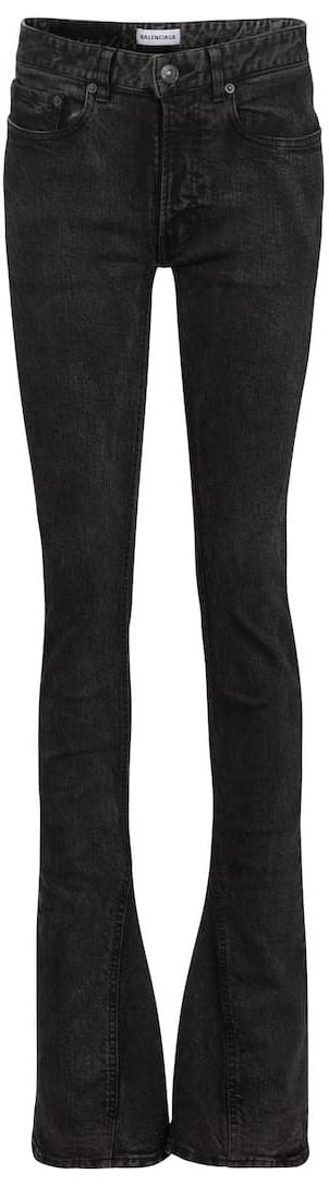 Black Mid-Rise Skinny Kick-Flare Jeans