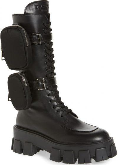 Black Monolith Mini Bag Knee High Boot-Prada
