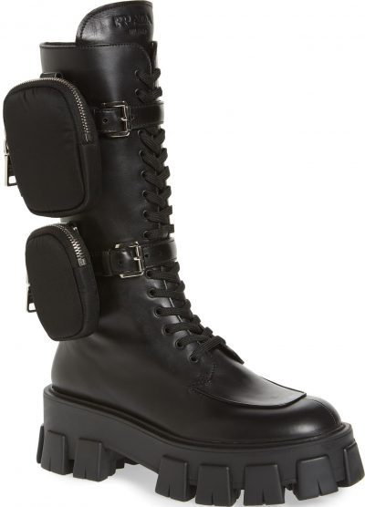 Black Monolith Mini Bag Knee-High Boots