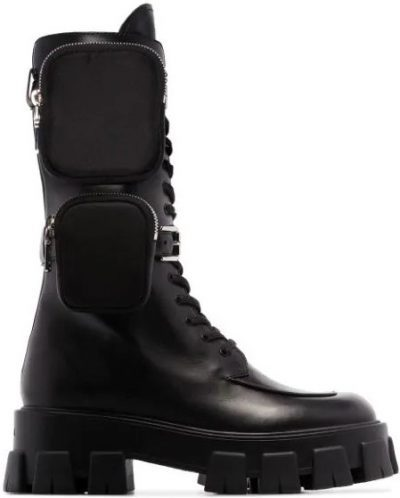 Black Monolith Pocket Leather Combat Boots
