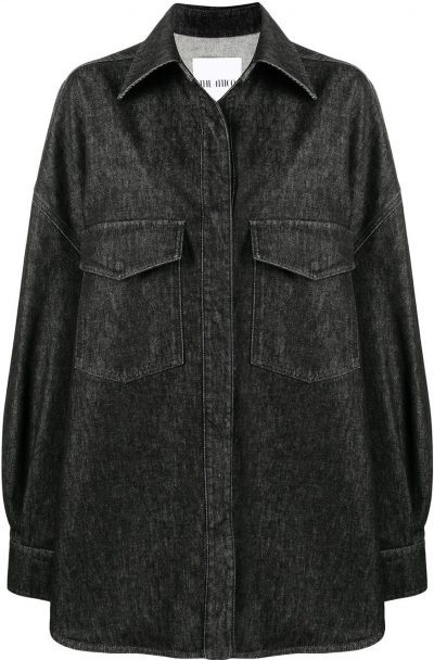 Black Oversize Denim Shirt-The Attico