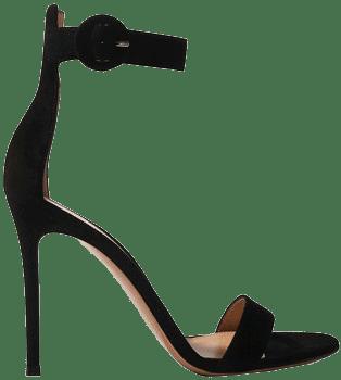 Black Portofino 105 Suede Sandals-Gianvito Rossi