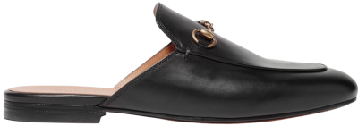Black Princetown Horsebit-Detailed Leather Slippers