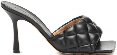 Black Quilted Leather Mules