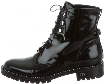 Black Rebelle Patent Combat Boots