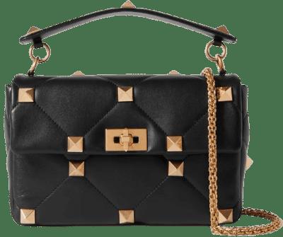 Black Roman Stud Quilted Leather Shoulder Bag-Valentino