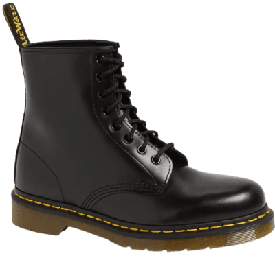 -Black Smooth '1460' Boots