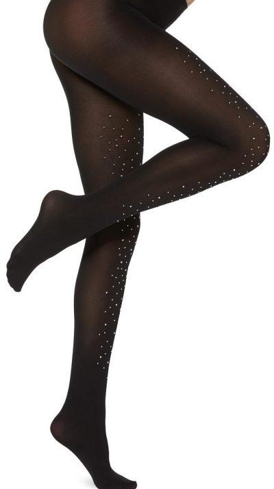Black Studded Appliqué Tights