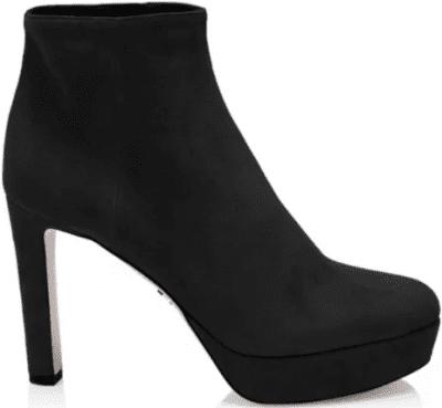 Black Suede Platform Booties-Prada