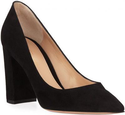 Black Suede Pointed-Toe Pumps With Chunky Heel-Gianvito Rossi