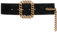 Black Suede St Sulpice Square Chain-Buckle Belt-Saint Laurent