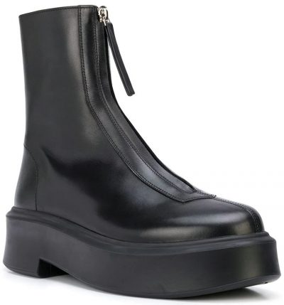 Black Zip Front Ankle Boots