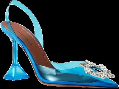 Blue Begum Crystal-Embellished PVC Slingback Pumps-Amina Muaddi