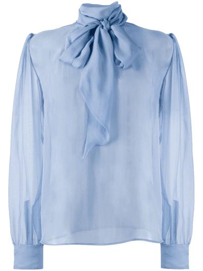 Blue Bow Silk Blouse
