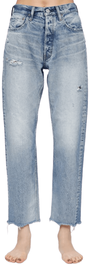 Blue MV Lomita Wide Straight Jeans-Moussy