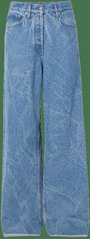 Blue Pinel Distressed Wide-Leg Jeans-Dries Van Noten