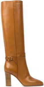 Brown Plain Leather Boots-Celine