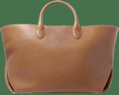 Caramel Leather Envelope Pleat Medium Tote