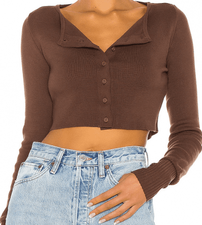Chocolate Brown Knit Cropped Cardigan