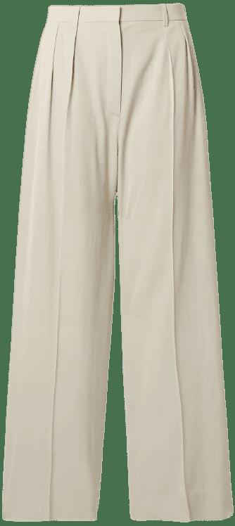 Cream Phoebe Woven Wide-Leg Pants-The Row