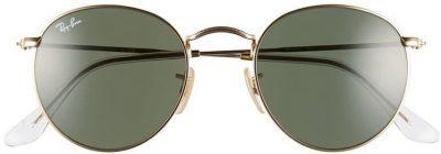 Gold 50mm Round Sunglasses-Ray-Ban