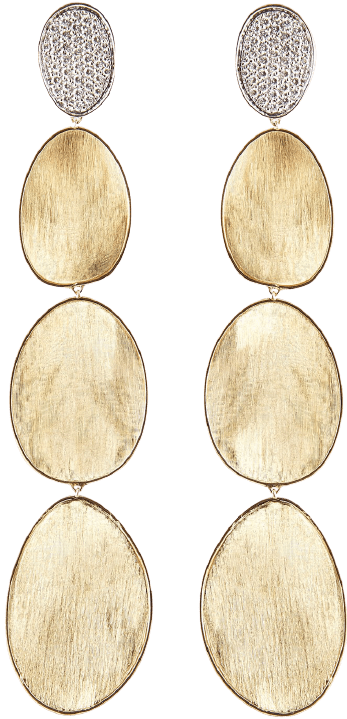 Gold Diamond Lunaria Drop Earrings