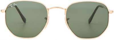 Gold & Green Hexagonal Flat Sunglasses-Ray-Ban