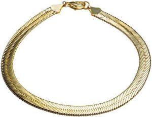 Gold Hailey Herringbone Chain Necklace-Fallon Jewelry