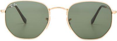 Gold Hexagonal Flat Sunglasses-Ray-Ban