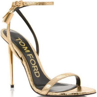 Gold Python Padlock Naked Sandal-Tom Ford
