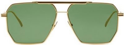 Gold Square-Frame Aviator Metal Sunglasses-Bottega Veneta