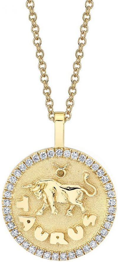 Gold Taurus Zodiac Coin Pendant