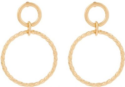 Gold Twisted Circle Drop Earrings