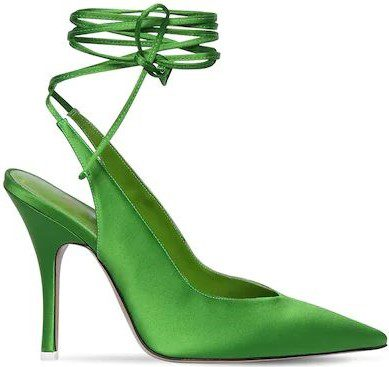 Green Satin Lace-Up Pumps-The Attico