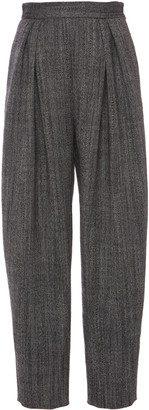 Grey Pleated Wool Pants-Alberta Ferretti