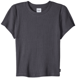 Inky Grey Ribbed Cropped T-Shirt