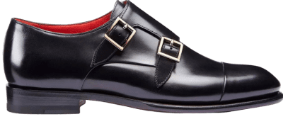 Jet-Black Double-Buckle Leather Shoes
