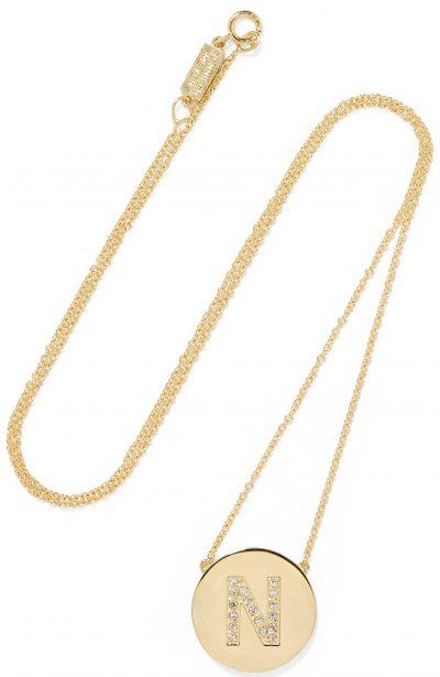 Letter 18-Karat Gold Diamond Necklace-Jennifer Meyer