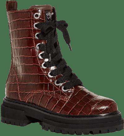 Medium Red Siva Croc Embossed Combat Boots