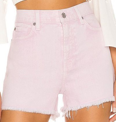 Mineral Pink High Waist Short With Fray Hem-7 For All Mankind